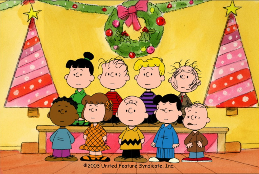 BACK ROW: VIOLET, LINUS, SCHROEDER, PIGPEN FRONT ROW: FRANKLIN, PATTY, CHARLIE BROWN, LUCY, RERUN